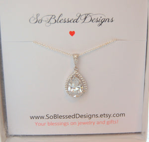 Bridal necklace in silver and cubic zirconia