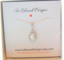 sterling silver and cubic zirconia necklace for bride on wedding day