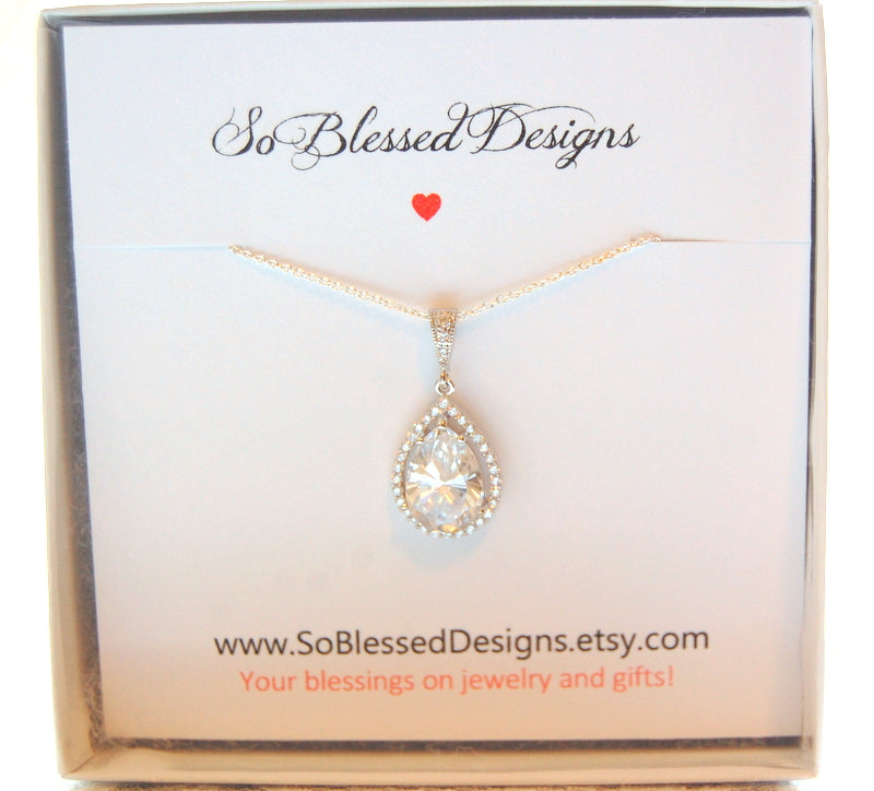 Sterling silver and cubic zirconia teardrop necklace for Bride