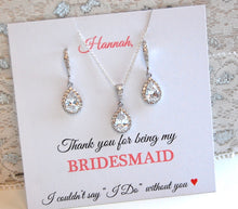 Personalized Bridesmaid card with CZ earrings and necklace attached