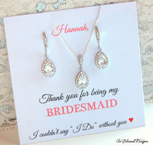 Sterling silver cubic zirconia earrings and necklace for bridesmaids