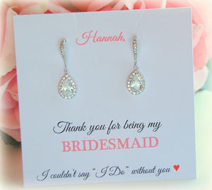 CZ Dangle Bridesmaid Earings on Thank you for being my bridesmaid card