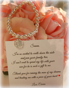 sterling silver and pearl bracelet with personalized card for mother of the groom