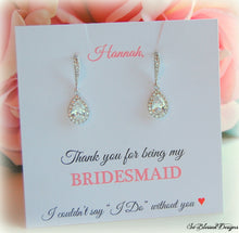 Pair of Silver teardrop earrings displayed on Thank you for being my bridesmaid card