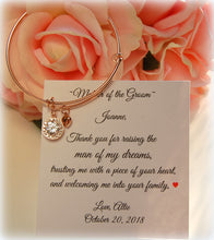 Rose Gold Adjustable bracelet with CZ charm for mother of the groom