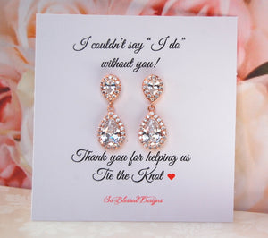 I couldnt say I do without you card and rose gold teardrop earrings