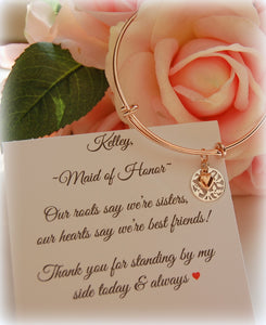 thank you gift for sister maid of honor rose gold bracelet