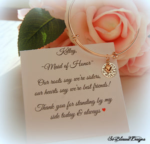 Rose gold family tree bracelet on custom jewelry card