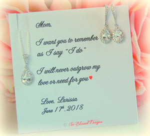 Silver teardrop earrings and necklace set for Mother of the Bride on personalized jewelry card