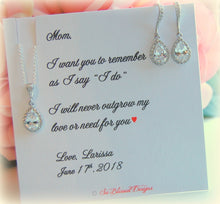 Gift set for mother of the bride includes cubic zirconia earrings and necklace