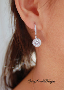 cubic zirconia earrings on model