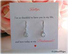 teardrop earrings displayed on a personalized jewelry card will you be my bridesmaid