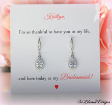 Teardrop earrings displayed on personalized card for bridesmaid gifts