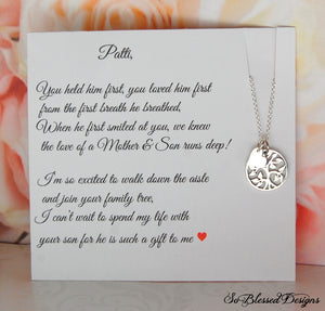 Sterling silver family tree necklace for mother of the groom gift