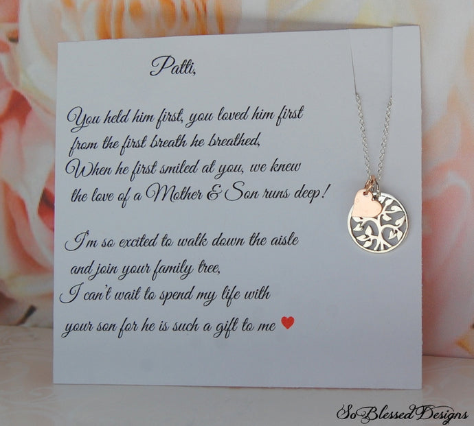 Family tree Mother of the Groom necklace on personalized jewelry card