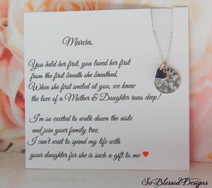 Family tree necklace in sterling silver and rose gold for mother of groom gift