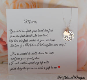 Sterling silver and rose gold pendant necklace for mother of the groom