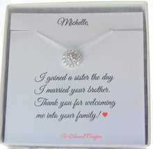 wedding gift for new sister in law CZ pendant necklace