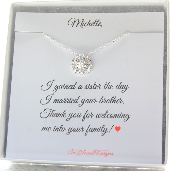 Gift for sister in law displayed on personalized jewelry card