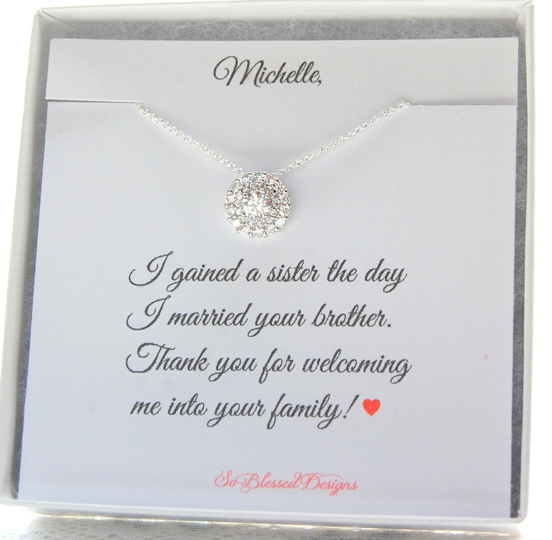 Sister In Law Wedding Necklace Gift So Blessed Designs
