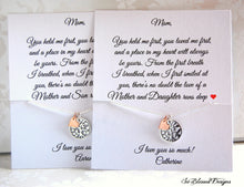Set of two family tree necklaces with personalized cards for Mom