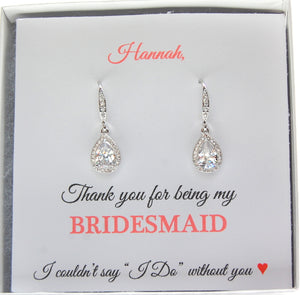 Thank you Bridesmaid Card with silver dangle earrings for bridesmaid gifts