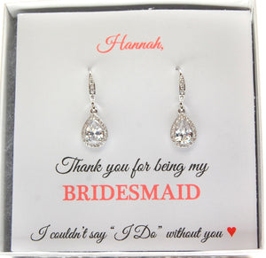 Thank you for being my Bridesmaid earrings on personalized jewelry card