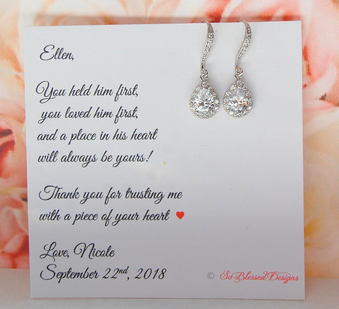 CZ Teardrop earrings displayed on Mother of the Groom jewelry card