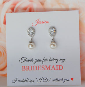 White Pearl and cubic zirconia drop Bridesmaid earrings