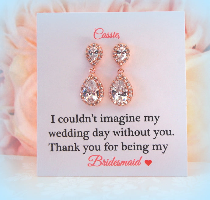 Rose Gold Bridesmaid earrings on card thank you for being my bridesmaid