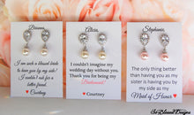 3 sets of pearl CZ earrings for bridesmaid gifts