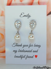sterling silver and cz drop earrings for bridal party gifts