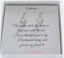 Solitair cubic zirconia earrings with personalized will you be my bridesmaid card