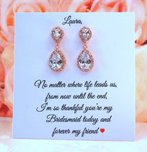 Rose gold earrings attached to thank you for being my bridesmaid card