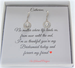Round solitaire earrings with custom personalized jewelry card
