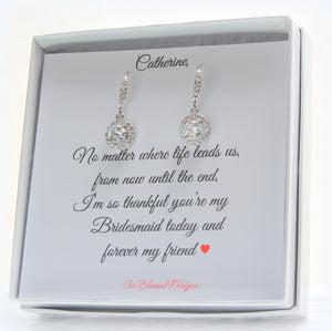 Pair of sterling silver solitaire CZ earrings on personalized card for bridesmaids