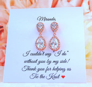 Teardrop rose gold earrings for bridesmaids gifts
