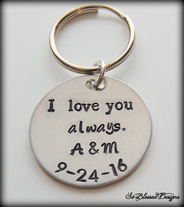 Silver I love you always keychain for Grooms wedding gift