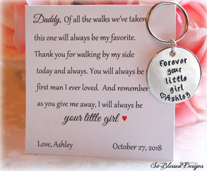 Father of the Bride card with personalized keychain
