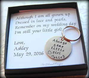 Always your little girl keychain with Although I am all grown up poem card