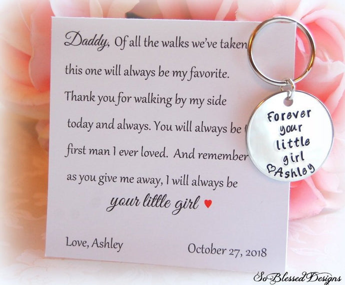 Forever your little girl keychain
