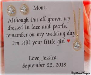 Mother of the bride gift set displaying gold earrings and necklace