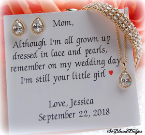 Gold Mother of the Bride Gift Set with earrings necklace bracelet on personalized mother of bride card