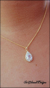 Gold teardrop necklace gift worn by Mother of the bride