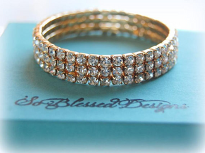 Gold cubic zirconia Mother of the Bride bracelet