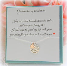 Grandmother of the Bride Necklace displayed on custom jewelry card