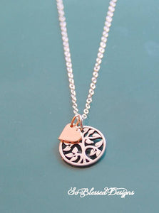 sterling silver and rose gold family tree necklace