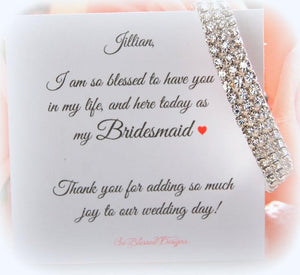 Cubic zirconia bracelet on thank you for being my bridesmaid card