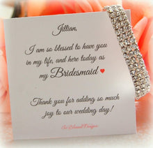CZ silver bracelet with personalized thank you for being my bridesmaid card