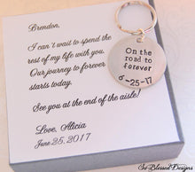 On the road to forever keychain for Groom